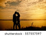 silhouette young  handsome and... | Shutterstock . vector #557557597