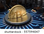 putting bitcoin into coin slot... | Shutterstock . vector #557594047