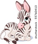 illustration of a cute zebra... | Shutterstock .eps vector #55760413