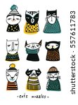 set with cartoon cats muzzles.... | Shutterstock .eps vector #557611783