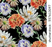 seamless pattern with flowers.... | Shutterstock . vector #557613097