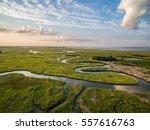 winding creek through marsh   Shutterstock . vector #557616763