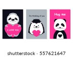 greeting cards set   cute... | Shutterstock .eps vector #557621647