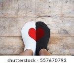 selfie feet wearing white and... | Shutterstock . vector #557670793