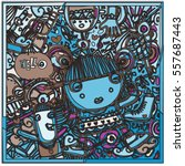 vector hand drawn of doodle... | Shutterstock .eps vector #557687443