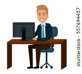 businessman working in computer | Shutterstock .eps vector #557694457