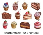cakes  cupcakes and pastry... | Shutterstock .eps vector #557704003