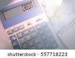 calculator and coins on white... | Shutterstock . vector #557718223