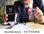 hand holding mobile with order... | Shutterstock . vector #557755393
