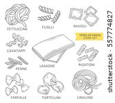 hand drawn collection of pasta. ... | Shutterstock .eps vector #557774827