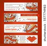 vector set of horizontal love... | Shutterstock .eps vector #557774983
