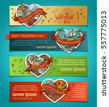 vector set of horizontal love... | Shutterstock .eps vector #557775013