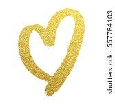 heart gold foil glitter vector... | Shutterstock .eps vector #557784103