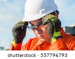 engineer is wearing safety... | Shutterstock . vector #557796793