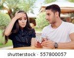 surprised woman receiving... | Shutterstock . vector #557800057