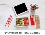 healthy lunch and diet concept. ... | Shutterstock . vector #557825863