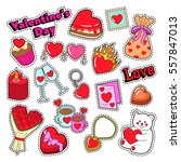 happy valentines day doodle for ... | Shutterstock .eps vector #557847013