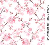 watercolor with spring tree in... | Shutterstock . vector #557859643