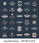 Vintage Logos Design Templates Set. Vector logotypes elements collection, Icons Symbols, Retro Labels, Badges, Silhouettes. | Shutterstock vector #557871193