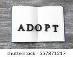 Small photo of Word ADOPT and open notepad on wooden background