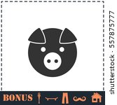 pig icon flat. simple vector... | Shutterstock .eps vector #557875777