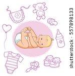 vector illustration of children'... | Shutterstock .eps vector #557898133