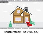 detached house in the winter... | Shutterstock .eps vector #557903527