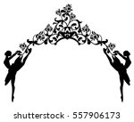 ballet dancers and rose flowers ... | Shutterstock .eps vector #557906173