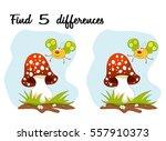 cartoon butterfly and mushroom... | Shutterstock .eps vector #557910373