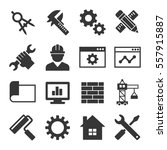 engineering icon set on white... | Shutterstock . vector #557915887