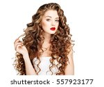 beautiful people. curly hair... | Shutterstock . vector #557923177