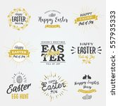 easter labels. vintage happy... | Shutterstock .eps vector #557935333