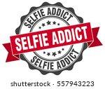 selfie addict. stamp. sticker.... | Shutterstock .eps vector #557943223