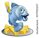 a cartoon fish and chips mascot ... | Shutterstock .eps vector #557955247
