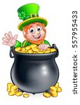 a cartoon leprechaun st... | Shutterstock .eps vector #557955433
