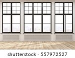 empty room with three large... | Shutterstock . vector #557972527