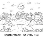 Cute cartoon meadow with mountain, bunny and river. Kids coloring page. | Shutterstock vector #557987713