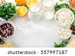 foods rich in calcium. healthy... | Shutterstock . vector #557997187
