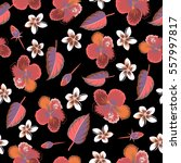 floral vector on a black... | Shutterstock .eps vector #557997817