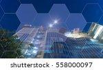 blue hexagon abstract cyber... | Shutterstock . vector #558000097