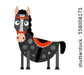funny cartoon horse in flat... | Shutterstock .eps vector #558008173