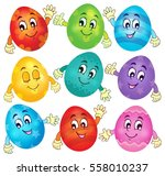 happy easter eggs collection 2  ... | Shutterstock .eps vector #558010237