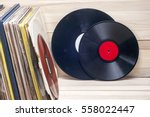 vinyl record in front of a... | Shutterstock . vector #558022447