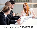 meeting business partners in... | Shutterstock . vector #558027757