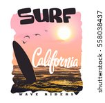 california surf typography  t... | Shutterstock .eps vector #558038437