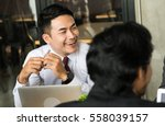 asia businessman brainstorming... | Shutterstock . vector #558039157