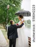 Groom Bride Rain Umbrella