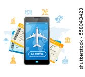 go travel booking concept with... | Shutterstock .eps vector #558043423