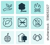 set of 9 eco icons. includes... | Shutterstock . vector #558052327