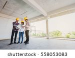 three construction engineers... | Shutterstock . vector #558053083